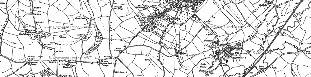 Old map of Bradninch in 1887