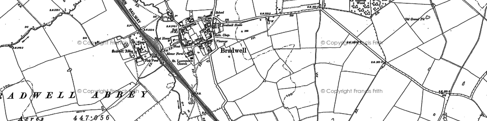 Old map of Bradwell in 1898
