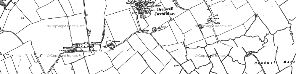 Old map of Bradwell on Sea in 1886
