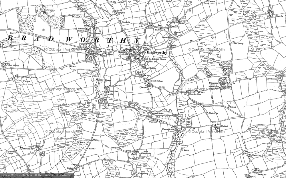 Old Map of Historic Map covering Atworthy in 1884