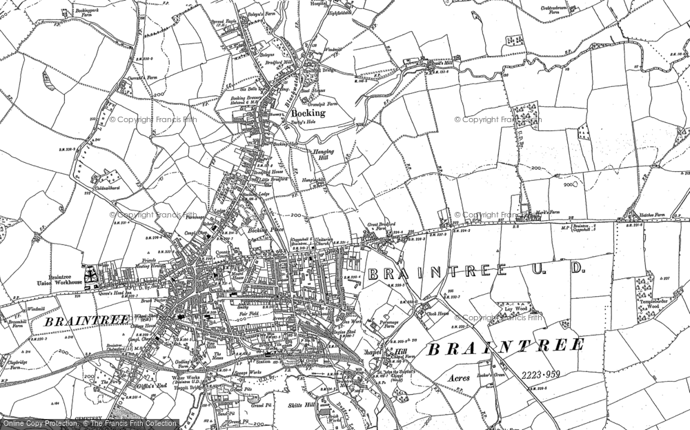 Map of Braintree, 1886 - 1896