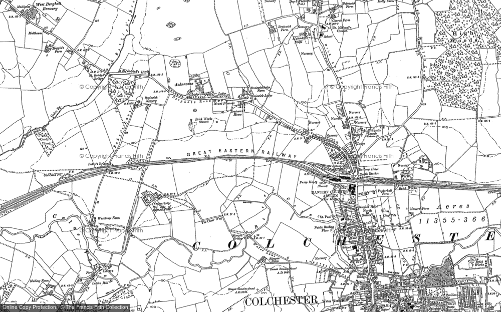 Old Map of Historic Map covering Lexden in 1896