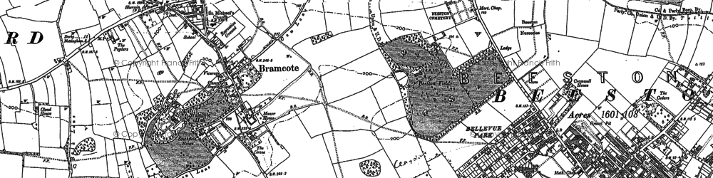 Old map of Bramcote Hills in 1899