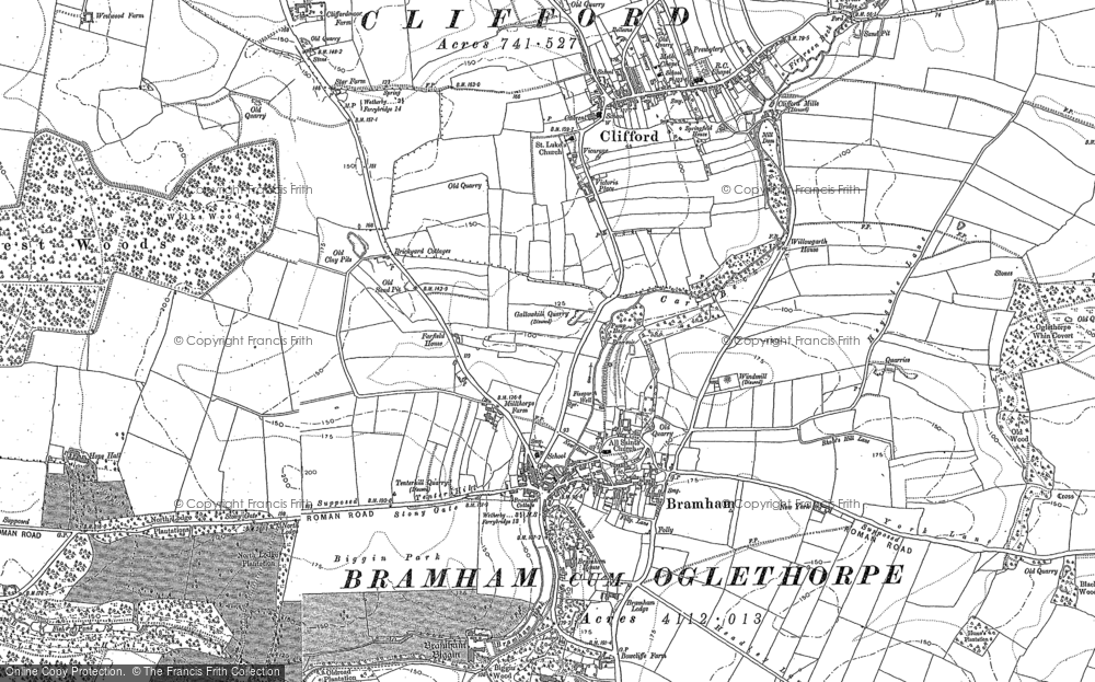 Old Map of Bramham, 1891 in 1891