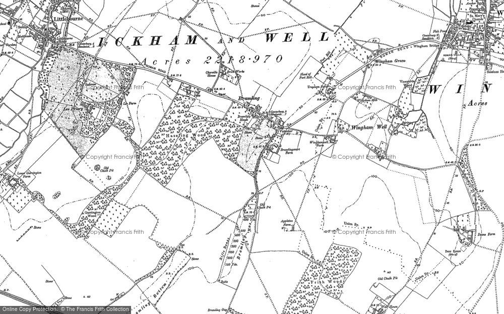 Old Map of Historic Map covering Lee Priory in 1896