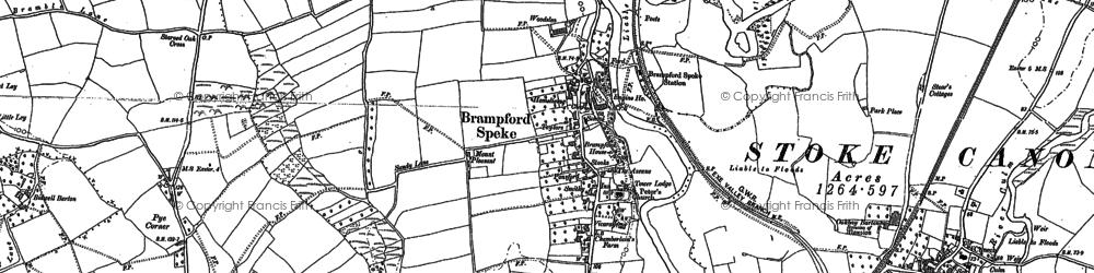 Old map of Brampford Speke in 1886