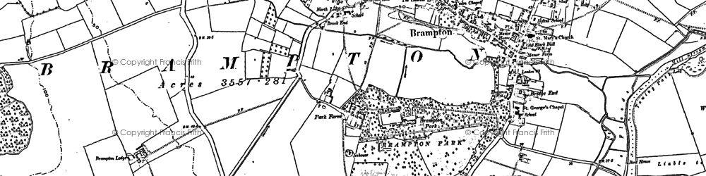 Old map of Brampton in 1885