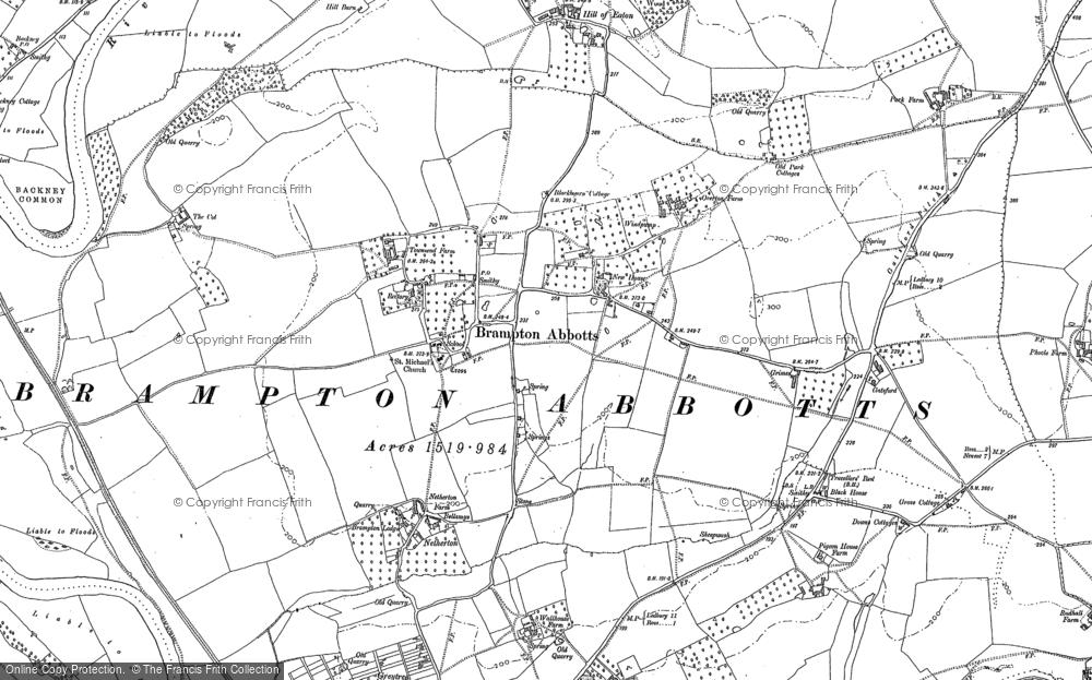 Old Map of Brampton Abbotts, 1887 - 1903 in 1887