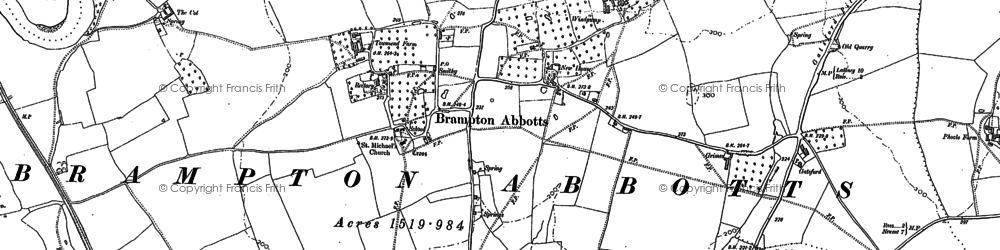 Old map of Brampton Abbotts in 1887