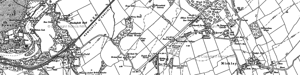 Old map of Branch End in 1895