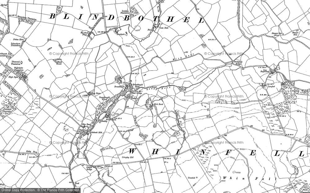 Old Map of Historic Map covering Whin Fell in 1898