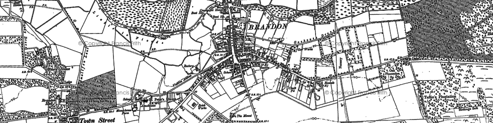 Old map of Brandon in 1881