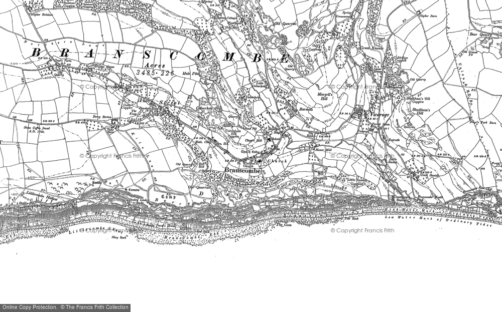 Old Map of Branscombe, 1888 - 1903 in 1888