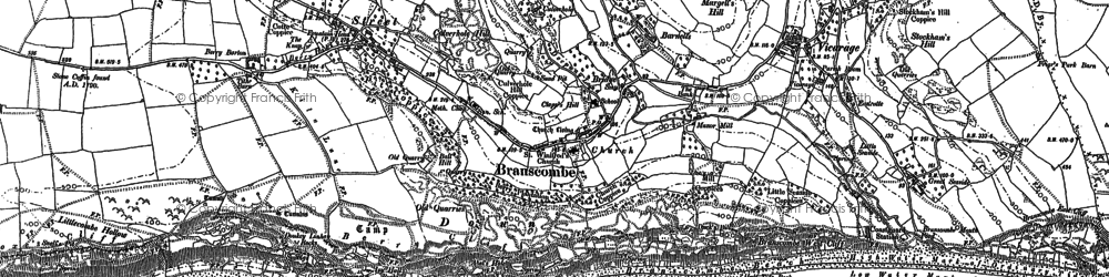 Old map of Branscombe in 1888
