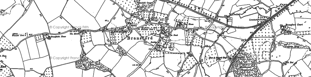 Old map of Bransford in 1884