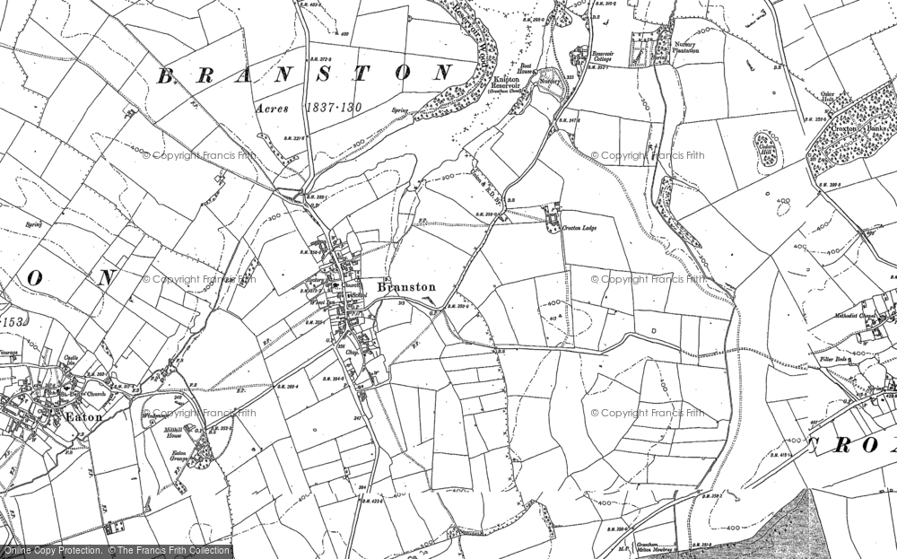 Old Map of Historic Map covering Lings Hill in 1884