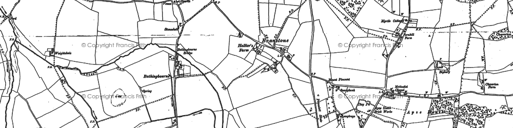 Old map of Branstone in 1896