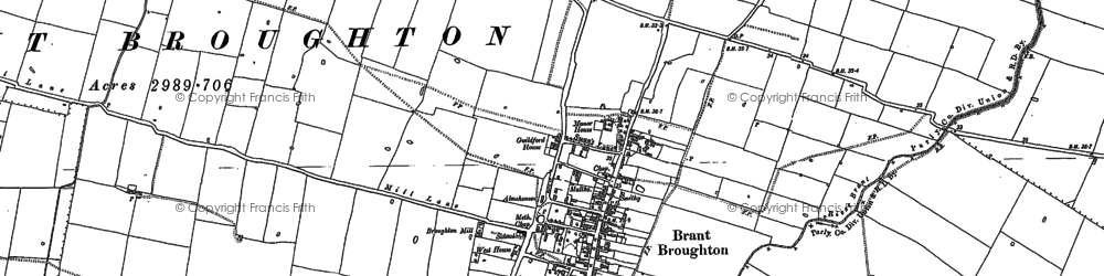 Old map of Brant Broughton in 1886