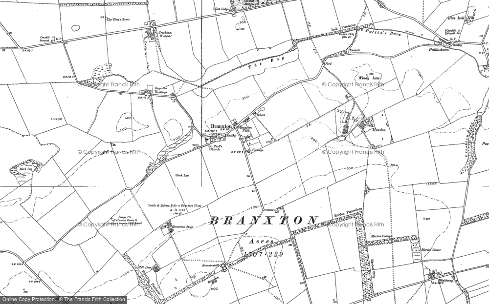 Old Map of Branxton, 1896 - 1897 in 1896