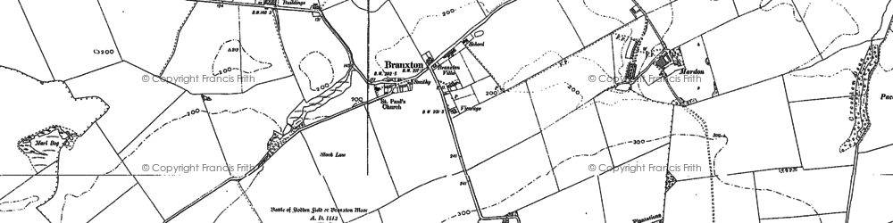 Old map of Branxton in 1896