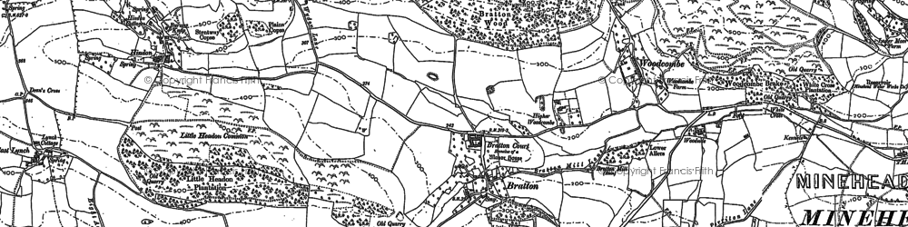Old map of Bratton in 1902