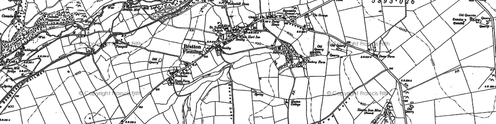Old map of Bratton Fleming in 1886