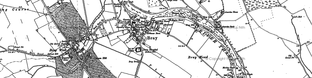 Old map of Bray Wick in 1910