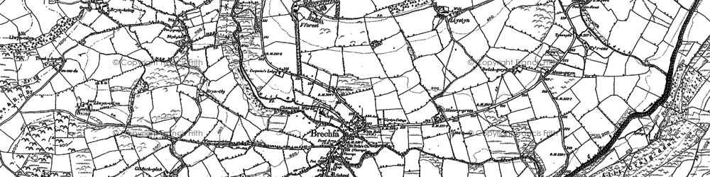 Old map of Ystrad in 1876