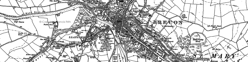 Old map of Brecon in 1886