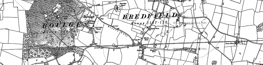 Old map of Bredfield in 1881