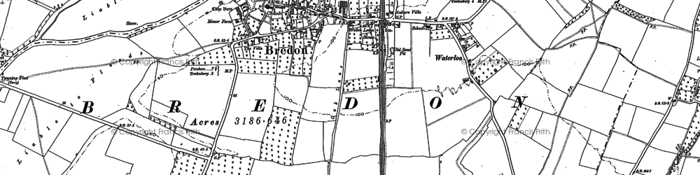 Old map of Bredon in 1884