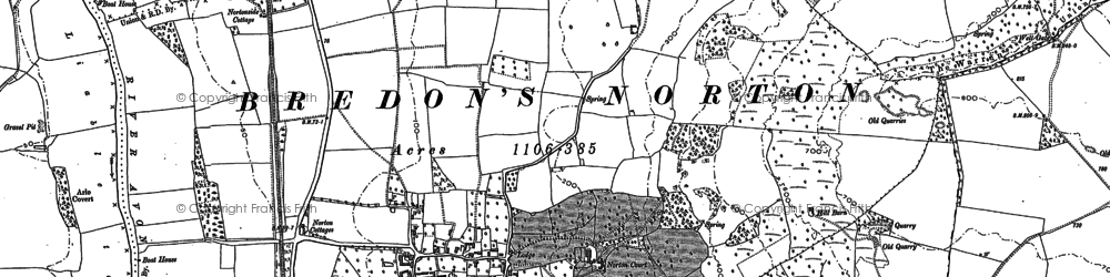 Old map of Woollas Hall in 1884