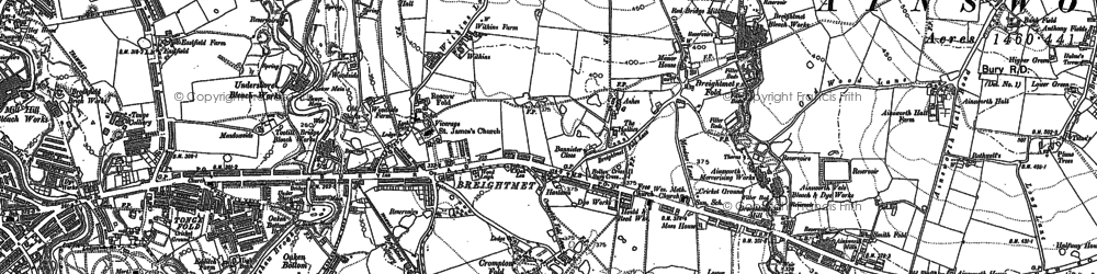 Old map of Tonge Fold in 1890