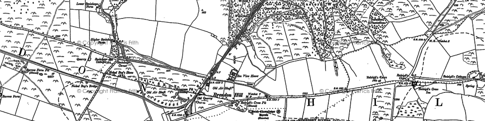 Old map of Wivelscombe Barrow in 1887