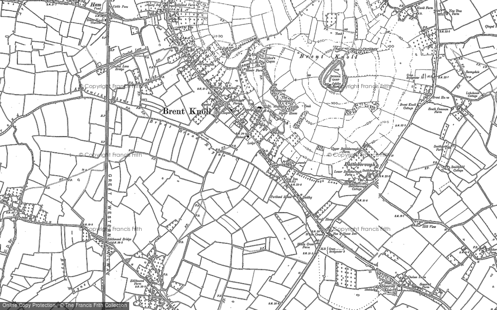 Old Map of Historic Map covering White Cross in 1884