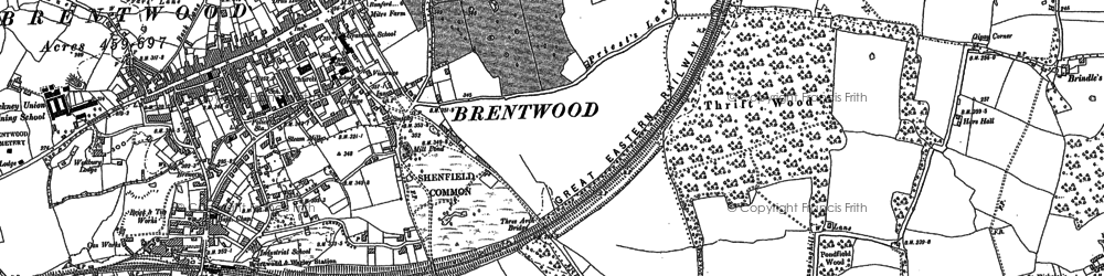 Old map of Brentwood in 1895