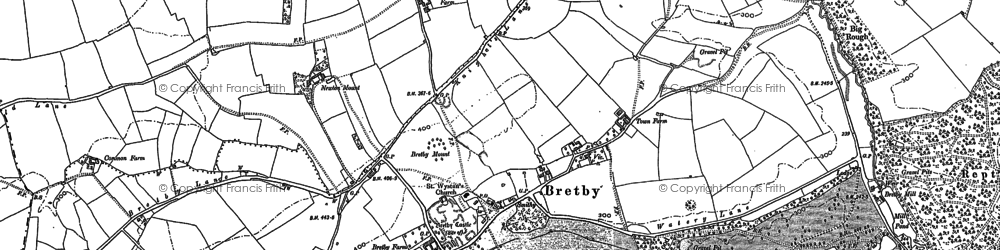 Old map of Bretby in 1881