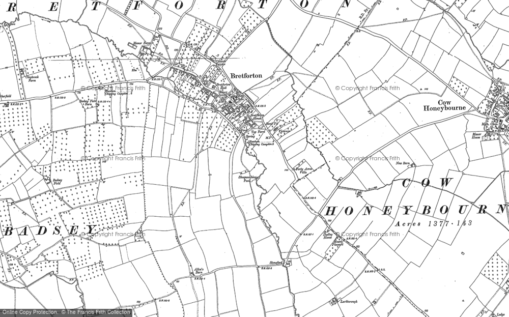 Old Map of Historic Map covering Badsey Field in 1883