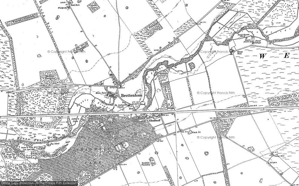 Old Map of Historic Map covering Langmere Boxes in 1883