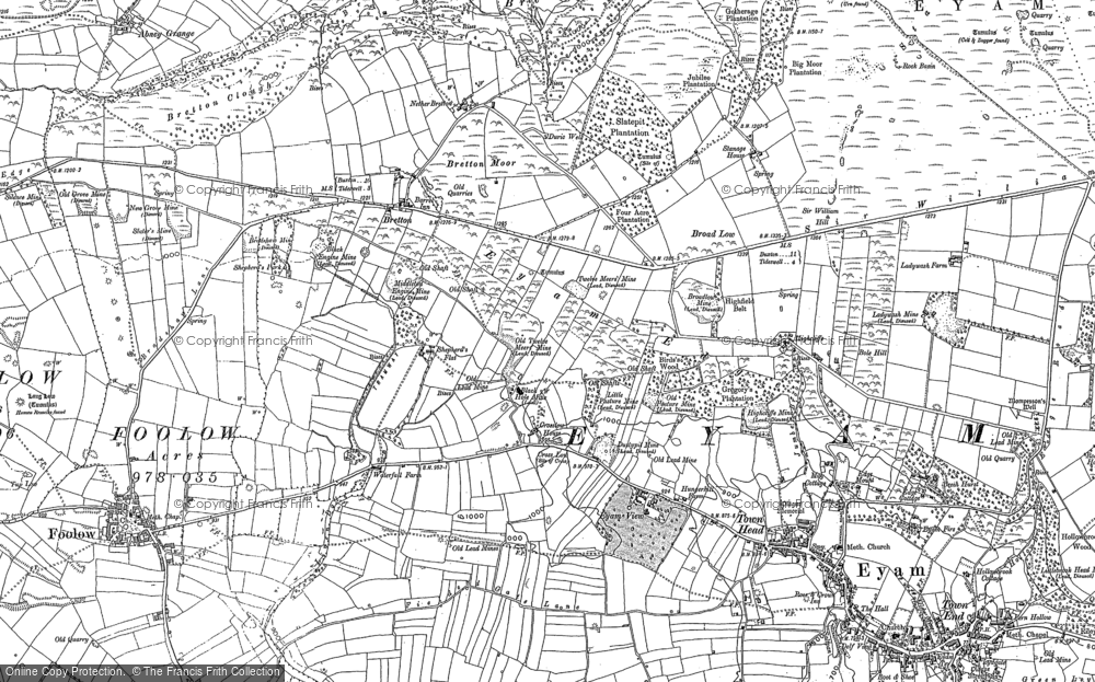 Old Map of Historic Map covering Abney Moor in 1879