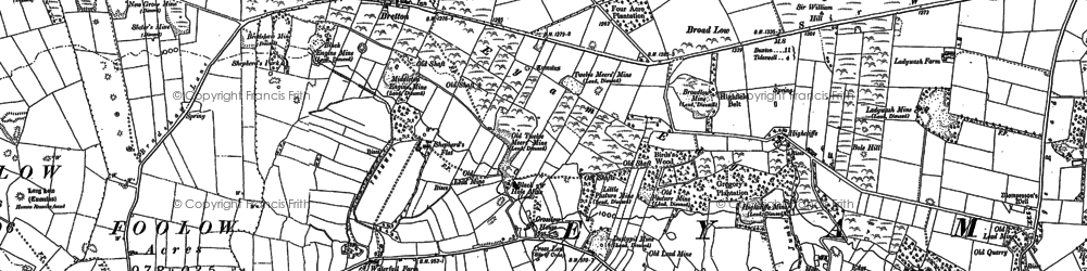 Old map of Abney Moor in 1879