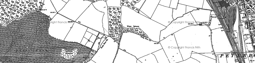 Old map of Bretton in 1899