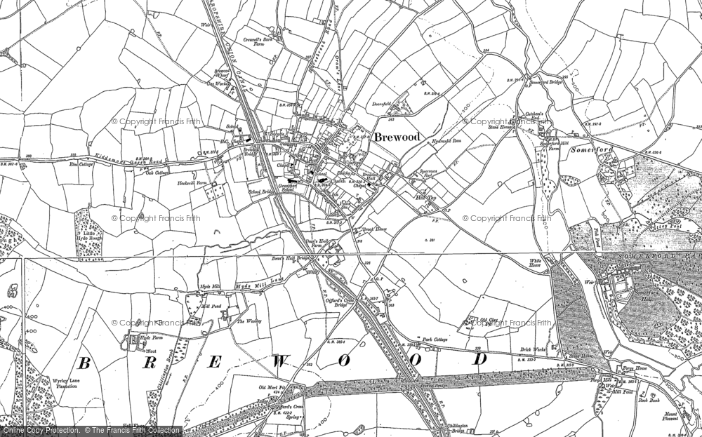 Old Map of Historic Map covering Ackbury Heath in 1883