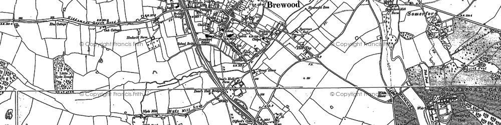 Old map of Brewood in 1883
