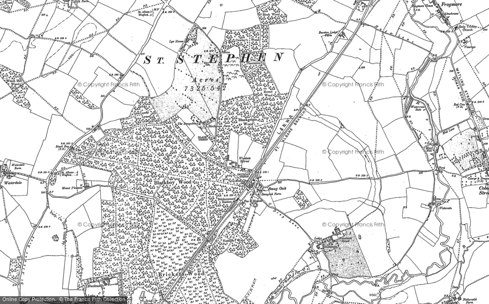 Old Map of Bricket Wood, 1896 in 1896