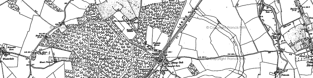 Old map of Bricket Wood in 1896