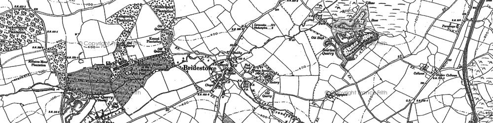 Old map of Bridestowe in 1883