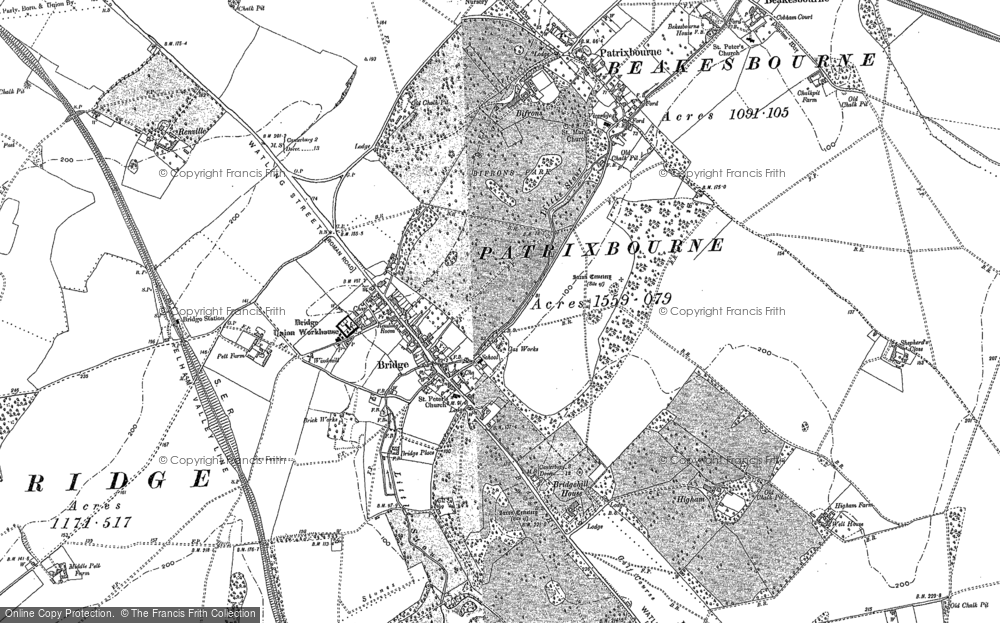 Old Map of Historic Map covering Barham Downs in 1896
