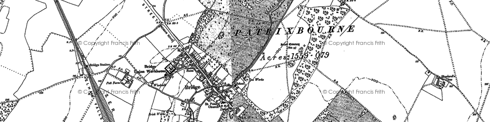 Old map of Barham Downs in 1896