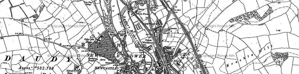 Old map of Bridgend in 1913